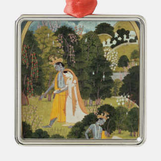 Radha and Krishna walking in a grove Metal Ornament