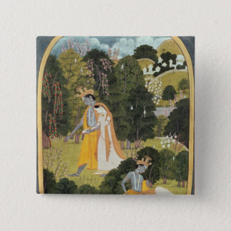 Radha and Krishna walking in a grove Pinback Button