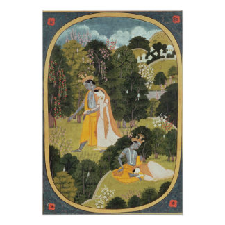 Radha and Krishna walking in a grove Poster