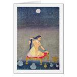Radha At Night By Indian Painter Around 1650 (I) Greeting Cards