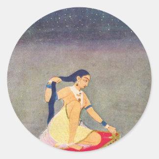 Radha en la noche. Mughal que pinta Ca 1650Th por Etiquetas Redondas