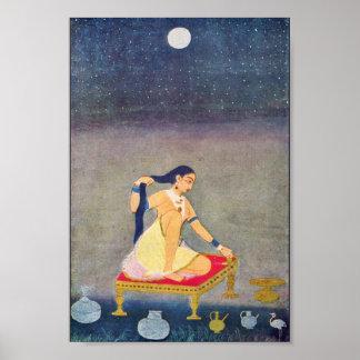 Radha en la noche. Mughal que pinta Ca 1650Th por  Póster