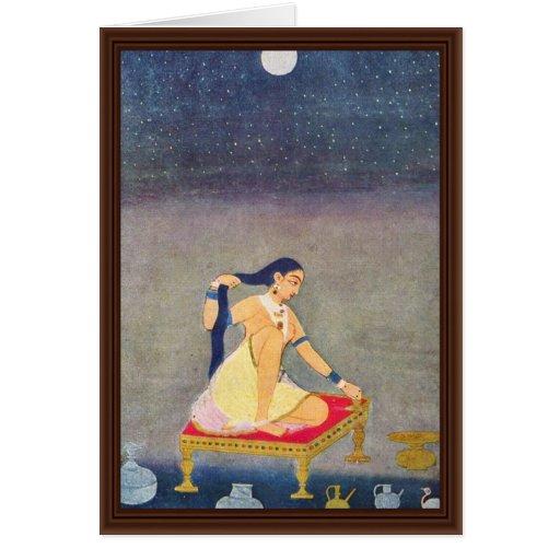 Radha en la noche. Mughal que pinta Ca 1650Th por  Tarjeta De Felicitación