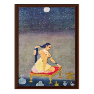 Radha en la noche. Mughal que pinta Ca 1650Th por  Tarjeta Postal