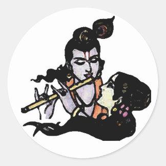 Radha escucha la flauta de Krishna Etiqueta Redonda
