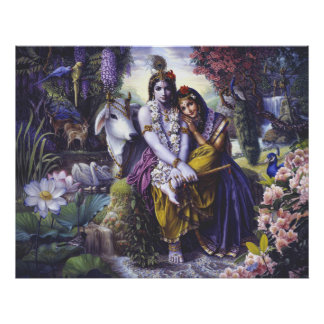 Radha Krishna All-Attractive Couple canvas Poster