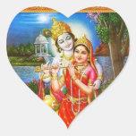 RADHA Krishna - en mi colección del corazón Pegatina En Forma De Corazón