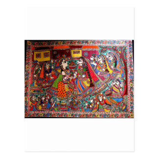 RADHA KRISHNA HINDU GODS MADHUBANI ART STYLE POSTCARD