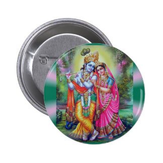 Radha Krishna Pin Redondo De 2 Pulgadas