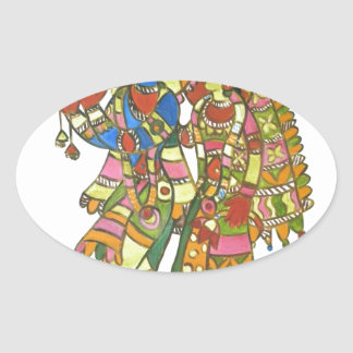 Radha Krishna Oval Sticker