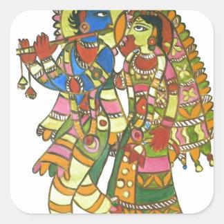 Radha Krishna Square Sticker