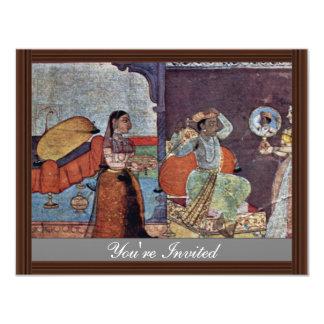 """Radha Krishna y su amigo de confianza por Meister Invitación 4.25"""" X 5.5"""""""