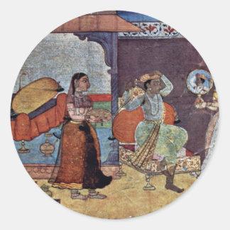 Radha Krishna y su amigo de confianza por Meister Pegatina Redonda
