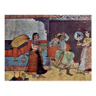 Radha Krishna y su amigo de confianza por Meister Tarjeta Postal