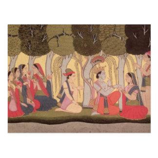 Radha y Krishna asentados en una arboleda, Kulu Tarjeta Postal