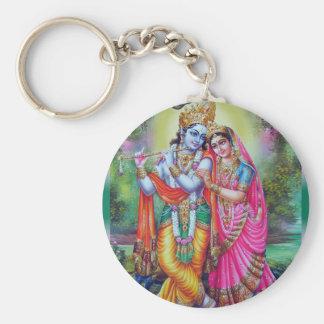 Radha y Krishna Llavero Redondo Tipo Pin