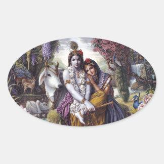 Radha y Krishna Pegatina De Oval