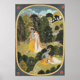 Radha y Krishna que caminan en una arboleda Impresiones
