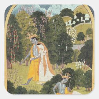 Radha y Krishna que caminan en una arboleda Calcomanias Cuadradas