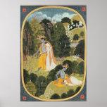 Radha y Krishna que caminan en una arboleda Póster