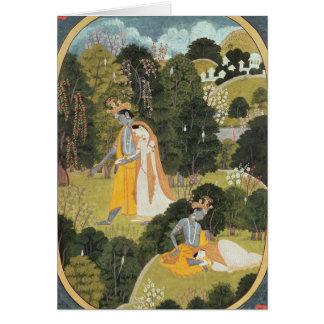 Radha y Krishna que caminan en una arboleda Felicitacion