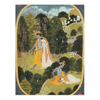 Radha y Krishna que caminan en una arboleda Postal