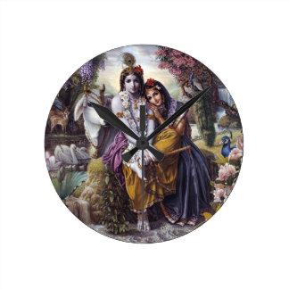 Radha y Krishna Reloj Redondo Mediano