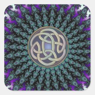 Radiación del nudo del Celtic del Grunge de la Pegatina Cuadrada