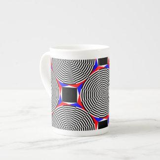 Radiación negra y blanca taza de porcelana