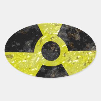 Radiación verde pegatina ovalada