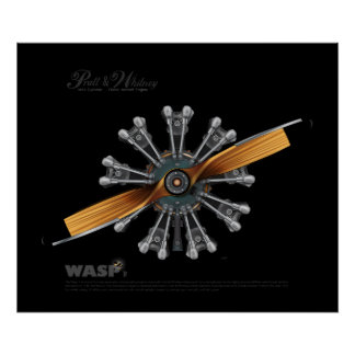 Radial Aircraft Engine with Prop Art Poster