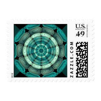 Radial dark turquoise stamp