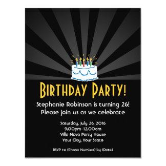 "Radial Lights Birthday Cake Party Invitations 4.25"" X 5.5"" Invitation Card"