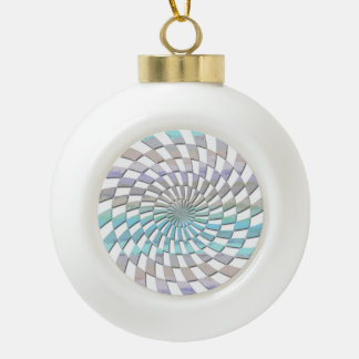 RADIAL PATTERN IN PASTELS CERAMIC BALL CHRISTMAS ORNAMENT