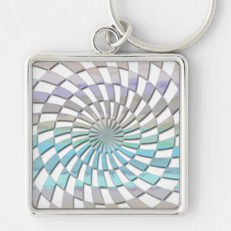 RADIAL PATTERN IN PASTELS Silver-Colored SQUARE KEYCHAIN