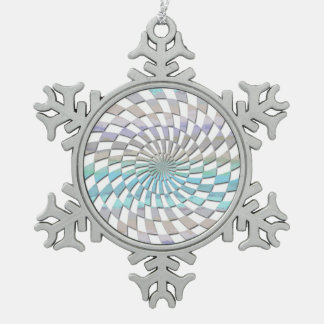 RADIAL PATTERN IN PASTELS SNOWFLAKE PEWTER CHRISTMAS ORNAMENT