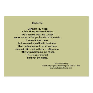 Radiance Poetry Trading Card Large Business Card