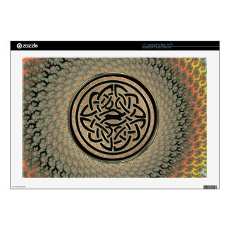 Radiant Autumn Fractal Celtic Shield Knot Decals For Laptops