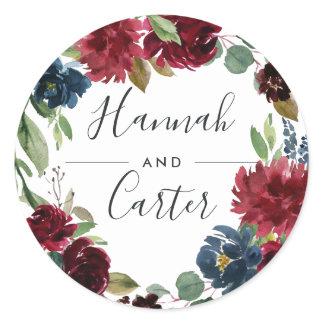 Radiant Bloom | Botanical Wreath Wedding Classic Round Sticker