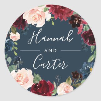 Radiant Bloom | Botanical Wreath Wedding Classic Round Sticker