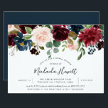 """Radiant Bloom Bridal Shower Invitation<br><div class=""""desc"""">Chic floral bridal shower invitation features a top border of burgundy marsala,  blush pink,  and navy blue flowers,  with lush botanical foliage and greenery. Personalize with your bridal shower details in modern hand lettered script and traditional sans serif lettering. Invitations reverse to rich navy blue.</div>"""