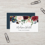 "Radiant Bloom | Floral Business Card<br><div class=""desc"">Elegant floral business cards feature your name and business name or title in a chic combo of block and handwritten script lettering,  topped by a lush watercolor bouquet of jewel tone flowers and greenery. Add your contact information to the reverse side in white on rich navy blue.</div>"