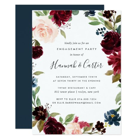 Radiant Bloom Floral Engagement Party Invitation