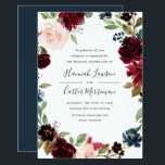 "Radiant Bloom Floral Frame Wedding Invitation<br><div class=""desc"">Our Radiant Bloom wedding invitation surrounds your wedding day details with a frame of watercolor flowers in burgundy marsala, blush pink and navy blue, with green botanical foliage and eucalyptus leaves on a rich navy blue background. A beautiful choice in lush, saturated jewel tone colors for fall or winter weddings....</div>"