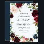 """Radiant Bloom Floral Frame Wedding Invitation<br><div class=""""desc"""">Our Radiant Bloom wedding invitation surrounds your wedding day details with a frame of watercolor flowers in burgundy marsala, blush pink and navy blue, with green botanical foliage and eucalyptus leaves on a rich navy blue background. A beautiful choice in lush, saturated jewel tone colors for fall or winter weddings....</div>"""