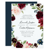 Radiant Bloom Floral Frame Wedding Invitation