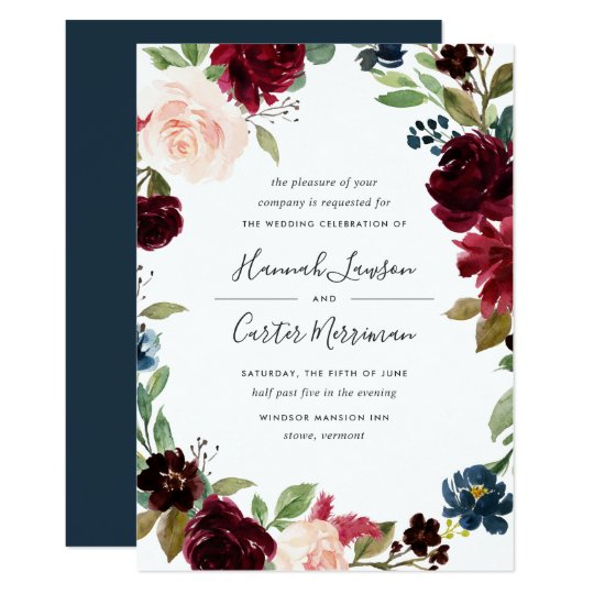 Radiant Bloom Floral Frame Wedding Invitation | Zazzle.com