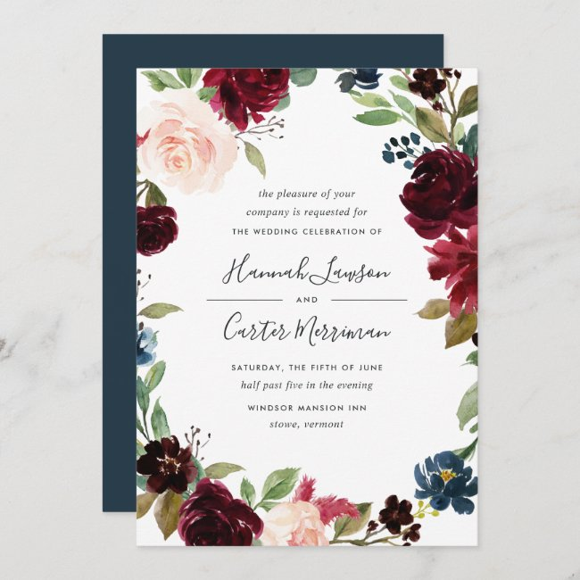 Radiant Bloom Floral Frame Wedding Invitation