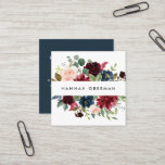 """Radiant Bloom   Floral Square Business Card<br><div class=""""desc"""">Chic floral business cards in a unique square format feature your name or company name flanked by a top and bottom border of painted watercolor flowers in burgundy marsala, blush pink and navy blue, with green eucalyptus foliage . Add your full contact information to the back in white on rich...</div>"""