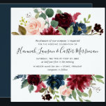 """Radiant Bloom Floral Wedding Invitation   Square<br><div class=""""desc"""">Our Radiant Bloom wedding invitation in a unique square format frames your wedding details with a top and bottom border of painted watercolor flowers in blush pink,  burgundy marsala and navy blue,  intertwined with green eucalyptus foliage.</div>"""